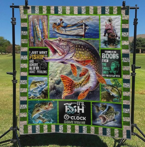 I Just Want To Go Fishing And Ignore All Of My Adult Problems Quilt Blanket Great Customized Blanket Gifts For Birthday Christmas Thanksgiving