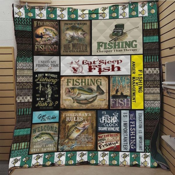 Education Is Important But Fishing Is Importanter Quilt Blanket Great Customized Blanket Gifts For Birthday Christmas Thanksgiving