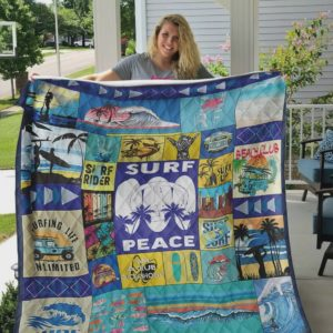 Surfing Peace Quilt Blanket Great Customized Blanket Gifts For Birthday Christmas Thanksgiving