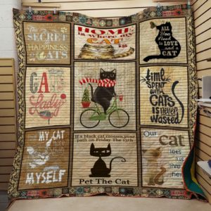 Time Spent With My Cats Is Never Wasted Quilt Blanket Great Customized Blanket Gifts For Birthday Christmas Thanksgiving