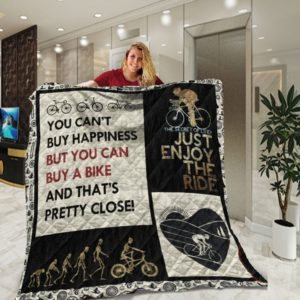 Cycling You Can't Buy Happiness But You Can Buy A Bike And That's Pretty Close Quilt Blanket Great Customized Blanket Gifts For Birthday Christmas Thanksgiving