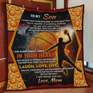 Personalized Basketball To My Son Quilt Blanket From Mom I Will Always Love You Great Customized Blanket Gifts For Birthday Christmas Thanksgiving