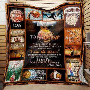 Personalized Basketball To My Son Quilt Blanket From Dad I Love You Forever And Always Great Customized Blanket Gifts For Birthday Christmas Thanksgiving