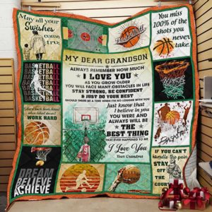 Personalized Basketball To My Dear Grandson Quilt Blanket From Grandma Always Remember How Much I Love You Great Customized Blanket Gifts For Birthday Christmas Thanksgiving