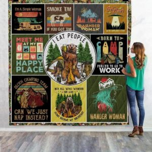 Camping Meet Me At My Happy Place Quilt Blanket Great Customized Blanket Gifts For Birthday Christmas Thanksgiving