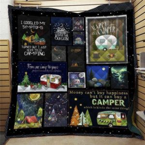 Camping Money Can't Buy A Happiness But It Can Buy A Camper Which Is Kinda The Same Thing Quilt Blanket Great Customized Blanket Gifts For Birthday Christmas Thanksgiving