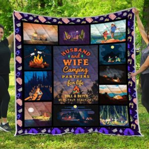 Personalized Husband And Wife Camping Partners For Life Quilt Blanket Great Customized Blanket Gifts For Birthday Christmas Thanksgiving