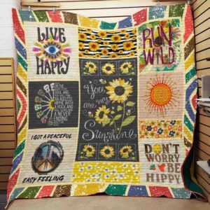 Hippie Sunflower You Are My Sunshine Quilt Blanket Great Customized Blanket Gifts For Birthday Christmas Thanksgiving