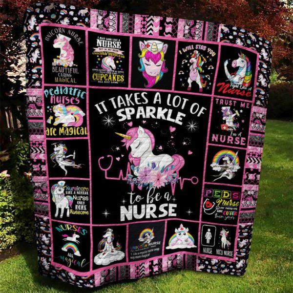 Nurse Unicorn It Takes A Lot Of Sparkle To Be A Nurse Quilt Blanket Great Customized Blanket Gifts For Birthday Christmas Thanksgiving