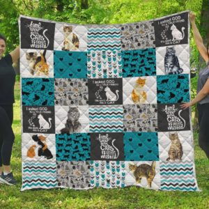 Cat Time Spent For Cats Is Never Wasted Quilt Blanket Great Customized Blanket Gifts For Birthday Christmas Thanksgiving