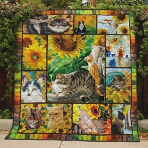 Cute Cats In The Sunflower Field Quilt Blanket Great Customized Blanket Gifts For Birthday Christmas Thanksgiving