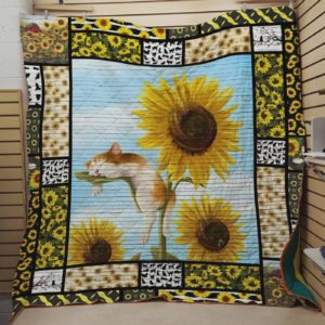 Sleep Cat On The Sunflower Quilt Blanket Great Customized Blanket Gifts For Birthday Christmas Thanksgiving