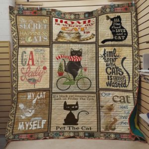 Cat Happiness Is Cat Quilt Blanket Great Customized Blanket Gifts For Birthday Christmas Thanksgiving