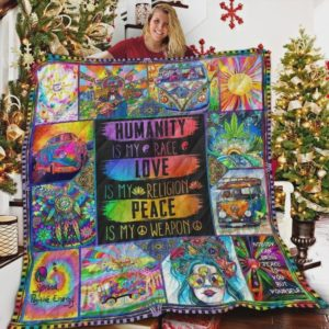 Hippie Humanity Is My Race Quilt Blanket Great Customized Blanket Gifts For Birthday Christmas Thanksgiving