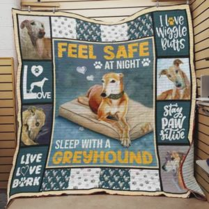 Greyhound Live With Greyhound Always Be Safe Quilt Blanket Great Customized Blanket Gifts For Birthday Christmas Thanksgiving Perfects Gifts For Greyhound Lovers