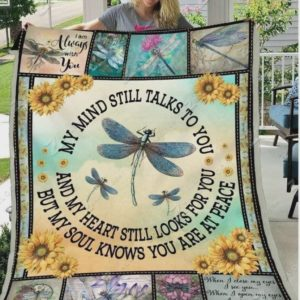 Dragonfly Sun Flower Drawing My Mind Still Talks To You  Quilt Blanket Great Customized Blanket Gifts For Birthday Christmas Thanksgiving