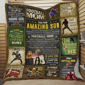 Personalized Football Family To My Amazing Son Quilt Blanket From Mom Love You Forever And Always Great Customized Blanket Gifts For Birthday Christmas Thanksgiving