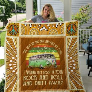 Give Me The Beat And Free My Soul I Wanna Get Lost In Your Rock And Roll And Drift Away- Hippie Van Quilt Blankets