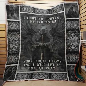 Skull I Fight To Control The Evil In Me Quilt Blanket Great Customized Gifts For Birthday Christmas Thanksgiving Perfect Gifts For Skull Lover