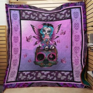 Sugar Skull And Fairy Quilt Blanket Great Customized Gifts For Birthday Christmas Thanksgiving Perfect Gifts For Skull Lover