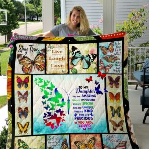 Personalized Customizable Names To My Daughter, Butterfly Quilt Blanket