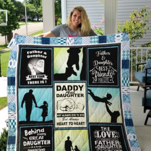 Father And Daughter Best Team There Is Quilt Blanket Great Customized Gifts For Birthday Christmas Thanksgiving Perfect Gifts For Family