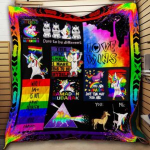 Lgbt Unicorn You Are Amazing Just The Way You Are Quilt Blanket Great Customized Blanket Gifts For Birthday Christmas Thanksgiving