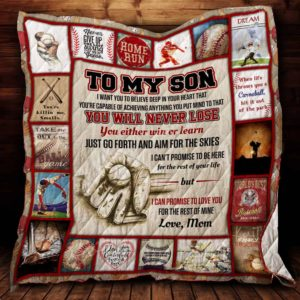 Personalized Baseball To My Son From Mom Just Go Forth And Aim For The Skies Quilt Blanket Great Customized Gifts For Birthday Christmas Thanksgiving Perfect Gifts For Baseball Lover
