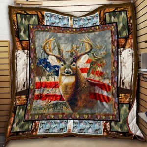 Deer Hunting American Flag Camo Quilt Blanket Great Customized Gifts For Birthday Christmas Thanksgiving Perfect Gifts For Deer Lover