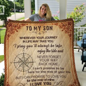 Compass To My Son From Mom I Love You Quilt Blanket Great Customized Gifts For Birthday Christmas Thanksgiving Perfect Gifts For Compass Lover