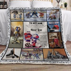 Personalized Ice Hockey To My Son From Dad You Either Win Or Learn Quilt Blanket Great Customized Gifts For Birthday Christmas Thanksgiving Perfect Gifts For Ice Hockey Lover