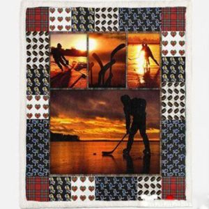 Ice Hockey At Dawn Quilt Blanket Great Customized Gifts For Birthday Christmas Thanksgiving Perfect Gifts For Ice Hockey Lover