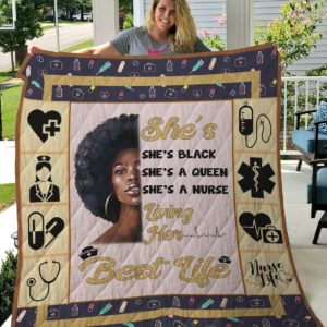 Nurse Black Girl With Afro She's Black She's A Queen She's A Nurse Quilt Blanket Great Customized Gifts For Birthday Christmas Thanksgiving Perfect Gifts For Nurse And Black Daughter Girlfriend Wife