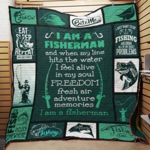 Fisherman When My Line Hits The Water Quilt Blanket Great Customized Gifts For Birthday Christmas Thanksgiving Perfect Gifts For Fisherman