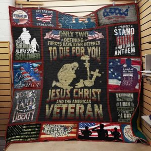 Us Army Veteran And Jesus Christ Sweet Land Of Liberty Quilt Blanket Great Customized Gifts For Birthday Christmas Thanksgiving Perfect Gifts For Us Veteran
