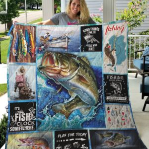 Fishing Time Fishing Is Like Boobs Quilt Blanket Great Customized Gifts For Birthday Christmas Thanksgiving Perfect Gifts For Fishing Lover