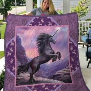 Unicorn Purple Mandala Pattern Quilt Blanket Great Customized Gifts For Birthday Christmas Thanksgiving Perfect Gifts For Unicorn Lover