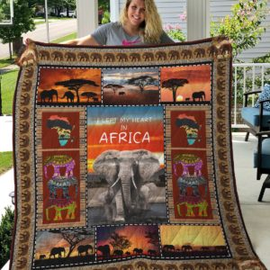 I Left My Heart In Africa Elephant Quilt Blanket Great Customized Gifts For Birthday Christmas Thanksgiving Perfect Gifts For African Culture Lover