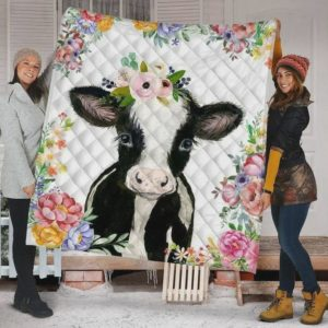 Floral Cute Cow Quilt Blanket Great Customized Blanket Gifts For Birthday Christmas Thanksgiving