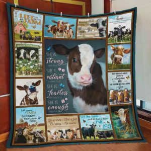 She Is Strong Valiant Fearless Enough Cow Quilt Blanket Great Customized Blanket Gifts For Birthday Christmas Thanksgiving