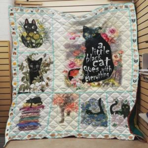 Cat And Secret A Little Black Cat Goes With Everything Quilt Blanket Great Customized Blanket Gifts For Birthday Christmas Thanksgiving