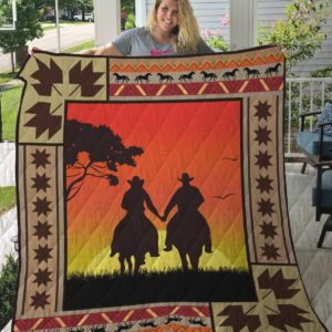 Horse Cowboy Couple At Dawn Quilt Blanket Great Customized Gifts For Birthday Christmas Thanksgiving Perfect Gifts For Horse Lover