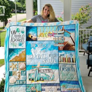 The Voice Of Sea Speaks To The Soul Beach Quilt Blanket