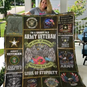 Grumpy Old Army Veteran My Level Of Sarcasm Depends On Your Lever Of Stupidity Quilt Blanket Great Customized Gifts For Birthday Christmas Thanksgiving Veteran Day Perfect Gifts For Veteran