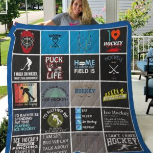 Ice Hockey I'd Rather Be Spending My Time Playing Ice Hockey Quilt Blanket Great Customized Gifts For Birthday Christmas Thanksgiving Perfect Gifts For Ice Hockey Lover