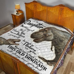 Personalized Dinosaur To My Daughter Quilt Blanket From Dad I Can Promise To Love You For The Rest Of Mine Great Customized Blanket Gifts For Birthday Christmas Thanksgiving