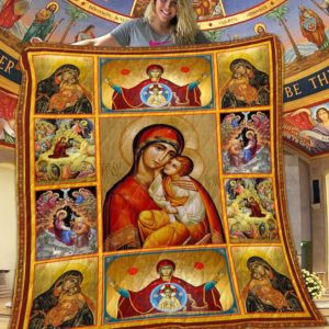Blessed Mother Mary And Jesus Sacred Moments Christain Quilt Blanket Great Customized Blanket Gifts For Birthday Christmas Thanksgiving Mother's Day