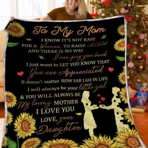 Personalized Sunflower To My Mom Quilt Blanket From Daughter You Will Always Be My Loving Mother Great Customized Blanket Gifts For Birthday Christmas Thanksgiving Perfect Gifts For Mother's Day