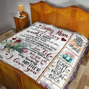 Personalized Flower To My Mom From Son I Will Always Be Your Little Boy Quilt Blanket Great Customized Blanket Gifts For Birthday Christmas Thanksgiving Mother's Day