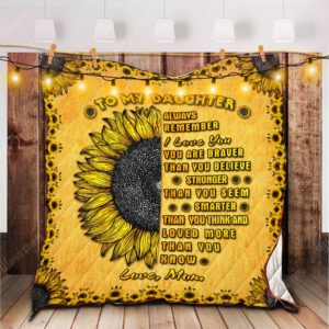 Personalized Yellow Half Sunflower To My Daughter From Mom Quilt Blanket I Love You More Than You Know  Great Customized Blanket Gifts For Birthday Christmas Thanksgiving